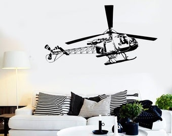 Wall Vinyl Decal Helicopter Air Force Cool Decor For Living Room Mural 1686dz