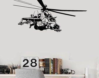 Wall Vinyl Decal Helicopter Military Army Guaranteed Quality Decor 2292di