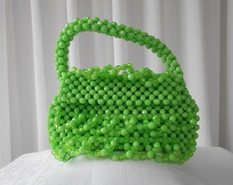 Vintage Mod Beaded Purse Handbag in Lime Green 1960's  #20036