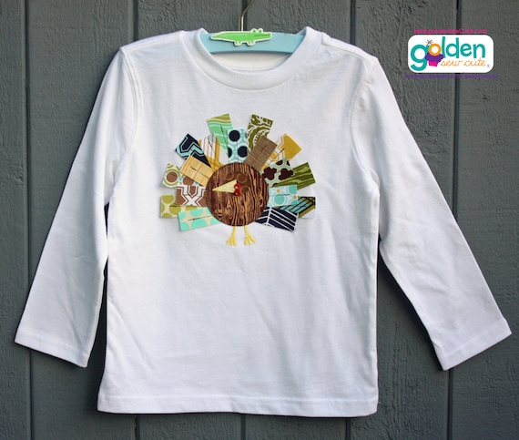 Thanksgiving Turkey Feather Tee, blue, navy, green, yellow and brown, Rectangle Feathers, Modern Turkey, Onesie, Shirt, Tshirt Applique