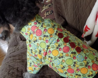 Dog Clothing//Dog Shirt//Green Flannel with Yellow Duckies - Cute PJ's for Dogs!! - Sizes XS/S/M - FREE Shipping