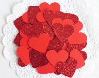Valentine's Day Glitter Confetti, Red Heart Glitter Confetti, Valentine's Day Gift, Love Celebration, Heart Die Cuts, Party Confetti