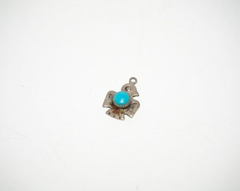 Sterling Silver 925 Vintage Bracelet Charm Thunderbird with Turquoise Belly .8g 6170