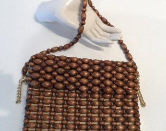 1960's brown wooden bead handbag lined with zipper vintage