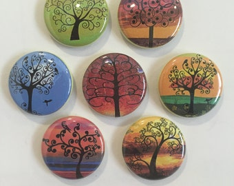 Silhouette Tree Magnets - set of 7