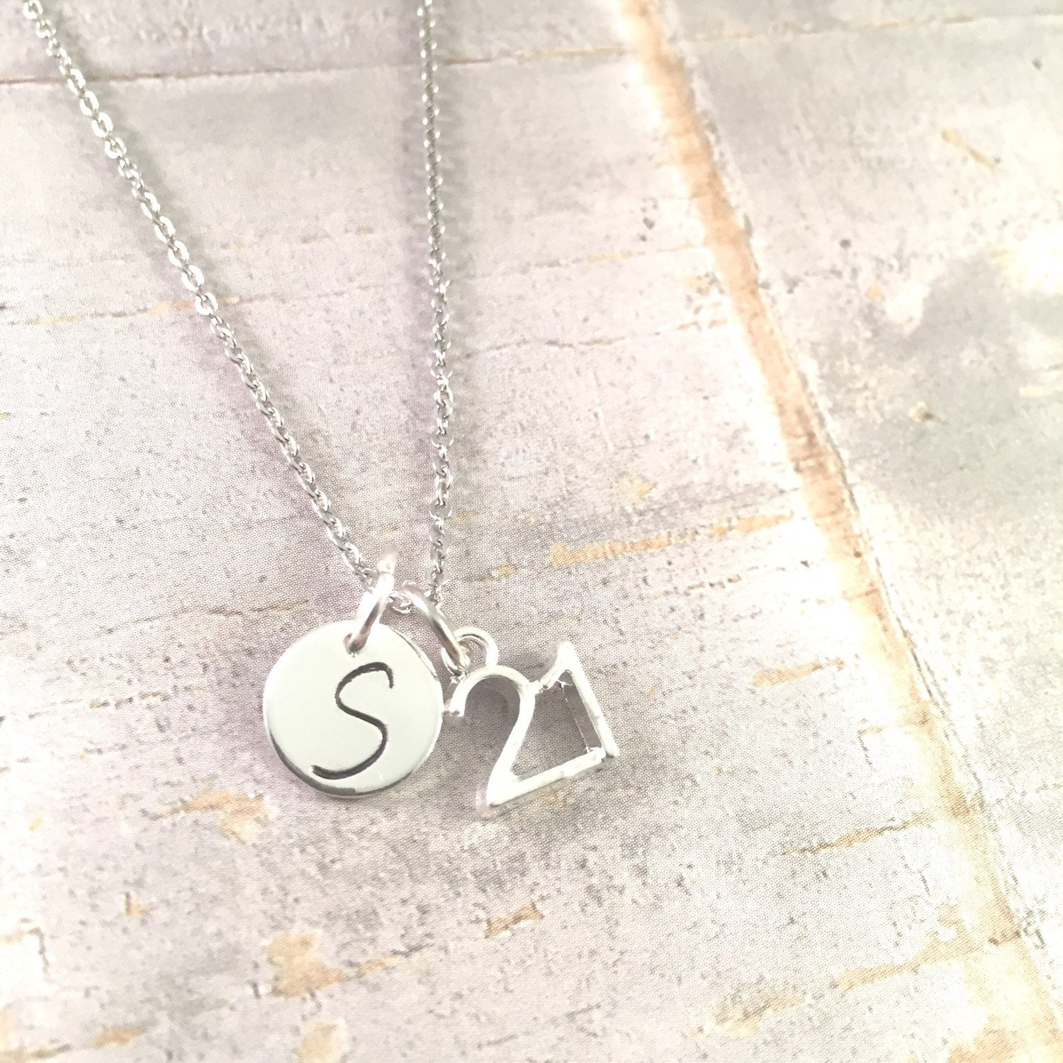 21st Birthday Necklace 21 Charm Necklace 21 Pendant 21st