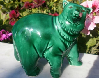 Antique french Vintage Bear in Majolica Green 1930'c - Vintage bear statuette in green slip