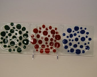 Art Glass Tray with Red, Blue and Green Polka Dots