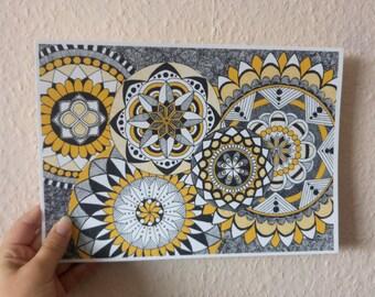 Zen circles III, mandala art print