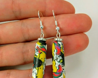 Beaded Earrings. Polymer Clay Earrings. Dangle Earrings. Gift for Her. Hand Made Jewelry