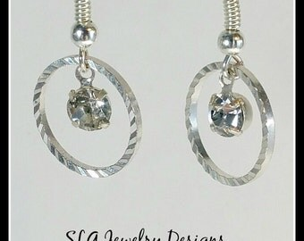 Silver and Rhinestone Dangle Hoop Earrings