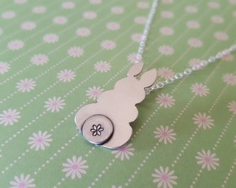 Sterling Silver Bunny Rabbit Pendant With Hand Stamped Tail, Silver Rabbit Necklace