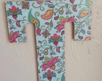 Floral Wooden Decorative Letter - Floral Decoupage Wooden Letter - Decoupage Letter - Floral Letter - Floral Bow Holder - Bow Organization