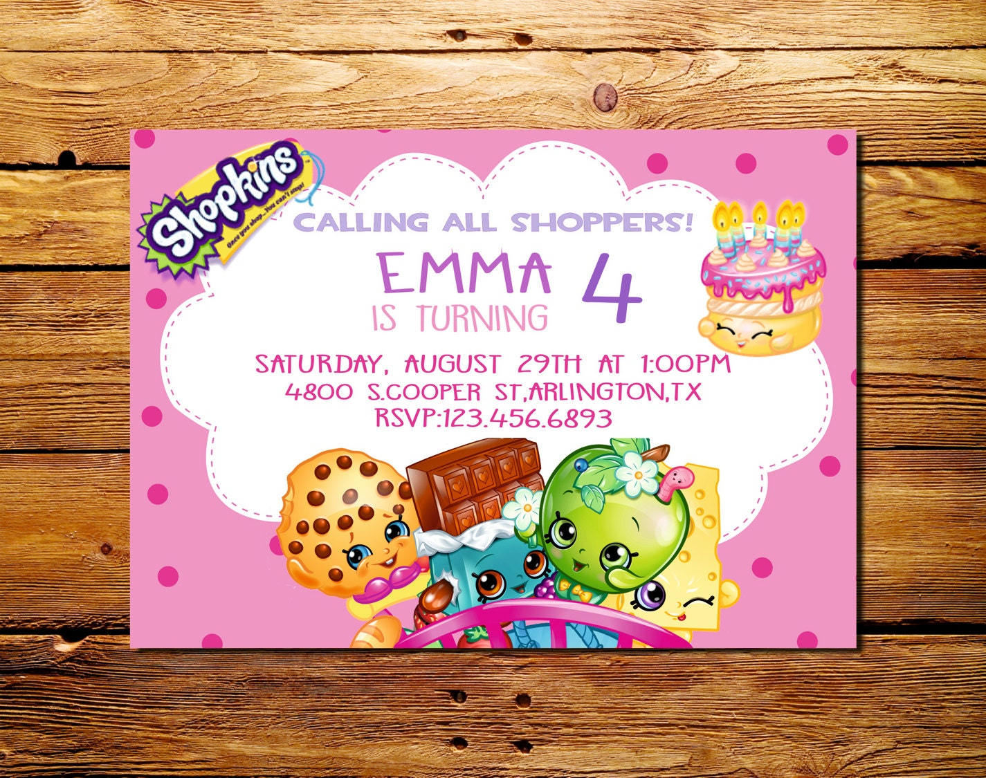 Shopkins Birthday Part Invitations Shopkins party supplies