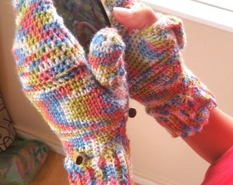 Crochet PATTERN - Fingerless Texting Gloves With Mitten Cover, One Skein Project - Instant Download