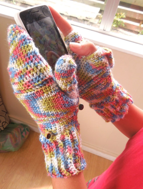 Crochet PATTERN Fingerless Texting Gloves With Mitten Cover