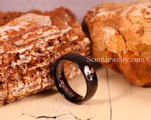 Black Tungsten Band with Domed Edge Mickey Mouse Ring- 8mm & 6mm Tungsten Rings