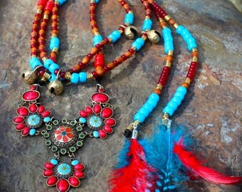 Complete Equine Rhythm Bead Set in Beautiful, Unique Bold BoHo Style With Coordinating Feathered Mane Beads