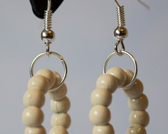 Cream Bead Hoop Earrings
