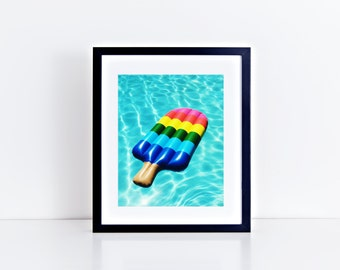 "Rainbow Colored Popsicle Pool Float, 8"" x 10"", Fine Art Photography, Wall Art Decor"