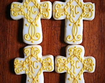 One Dozen - Cross Cookies - Baptism Gold White Cookies - Christening Party Favors - Christian Confirmation