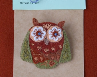 Embroidery Owl Brooch, Woodland Animal Felt Jewelry, Animal brooch, Felt Accessory