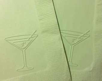 Martini Napkin ~ Embossed Paper Napkin ~ Birthday ~ Wedding ~ Batchelor Party ~ Batchelorette Party ~ Bar ~ Party ~ Martini ~ Beverage
