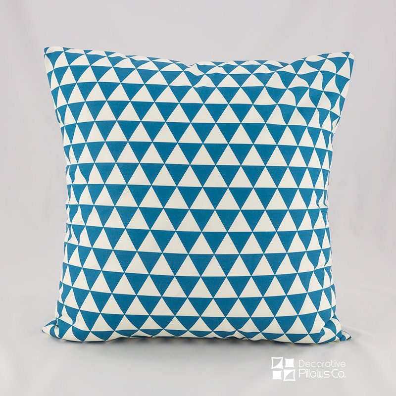 Throw Pillow Covers Teal : Throw Pillow Covers Teal Pillow Cover Teal Triangles Throw