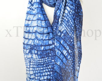 Navy Blue Snake Python Print Scarf,Wrap,Shawl,CoverUp,Scarves,Gift,Christmas,Gifts for Her,Christmas Present,Snake Lover Gift,Oversize Scarf