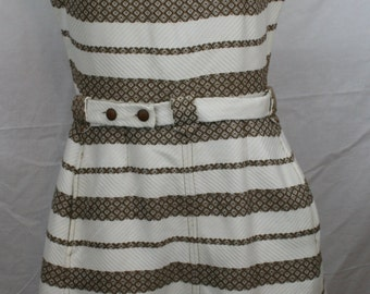 Vintage Pat Premo California Sleeveless white and olive-colored dress