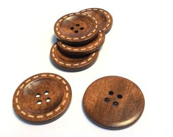 6pcs - 40mm Brown Stitch Design Wooden Buttons - 4 Hole Wood Button - Wooden Buttons