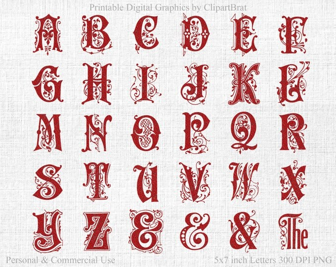 RED GLITTER MONOGRAM Alphabet Clipart Commercial Use Clip art Red Christmas Alphabet Letters Digital Monogram Alpha Wedding Font Monogram
