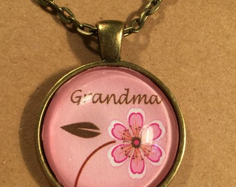 ON SALE Grandma (grandmother) : Glass Dome Necklace, Pendant or Keychain. Gift Present metal round art photo jewelry by Bohemian Marvels