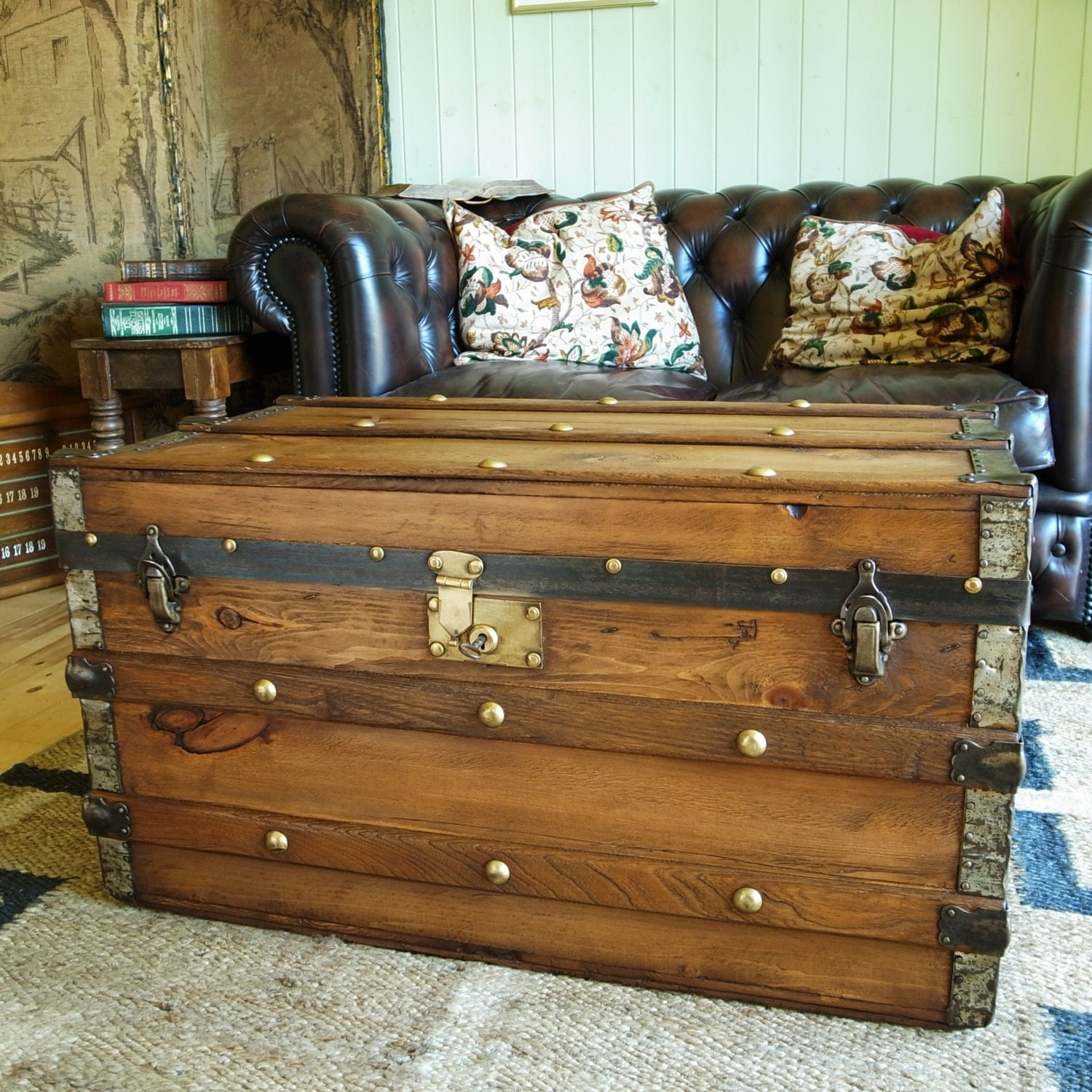 Vintage Steamer Trunk Coffee Table Pine Chest Antique