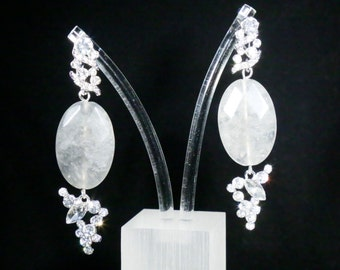 Grey Faceted Cloudy Quartz  with Rhinestone earrings