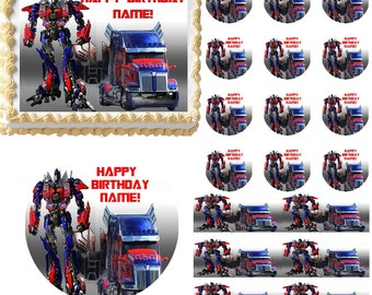 Transformers Optimus Prime Edible Cake Topper Image, Optimus Prime Cake, Optimus Prime Cupcakes, Transformers Cake, Optimus Prime Party