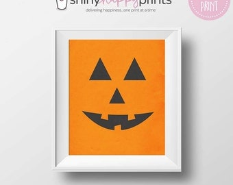 Jack O Lantern Digital Print, Halloween Digital Download Art, Cute 8x10 Carved Pumpkin, Trick or Treat Party Print, Shiny Happy Prints