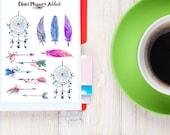 Plumes et des capteurs de rêves aquarelle Planner Stickers | Plumes de Stickers | Flèches | Capteurs de rêves Stickers | Boho autocollants (S-026)