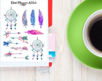 Feathers And Dreamcatchers Watercolour Planner Stickers | Feathers Stickers | Arrows | Dreamcatchers Stickers | Boho Stickers (S-026)