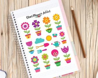 Flower Pots Gardening Planner Stickers (S-111)