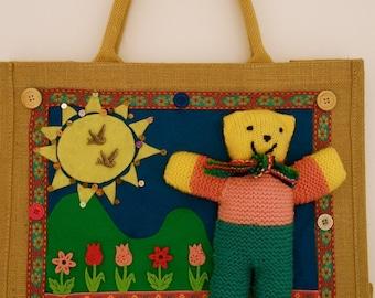 Teddy bear bag,knitted animals,children's toys,teddy bears,unique bag,storage,teddy bear bag,baby shower,cute bag,fun bags,childrens bags
