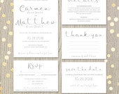 Printable wedding invitation suite, script invitation kit, modern calligraphy, rsvp, thank you, save the date, DIGITAL files, JPG