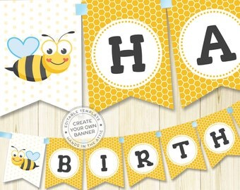 Bumblebee birthday party banner, bumble bee banner, alphabet bunting, bee party banner, printable banner template, instant download PDF