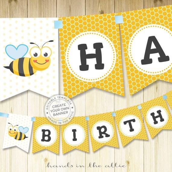 Bumblebee birthday party banner bumble bee banner alphabet bunting il570xn maxwellsz