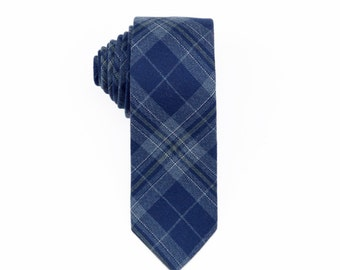 Blue Plaid Wool Tie.Mens Tie.Wool Skinny Tie.Tie for Winter.Gift for Him.