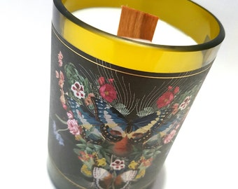 Soy Candle with Wood Wick. Upcycled Wine Bottle. Choose your own fragrance.