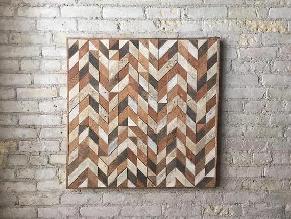 Reclaimed Wood Wall Art, Lath, Pattern, Chevron