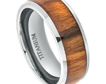 Titanium 8mm Wedding Band with Applewood Inlay