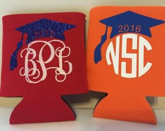 Custom Neoprene can insulator-Sports -Monogrammed drink insulator-Holiday gift-Graduation Cap -Groomsmen Gift-Wedding Favor