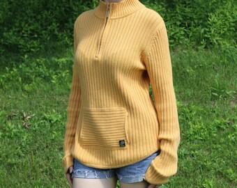 Cotton knit sweater, mustard yellow, Size 12, Size Large